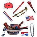 4th of July Parade Pack for Kids - Music & Fun Pack B2 (X3) - 4th Of July Parade Pack for Kids - Patriotic USA Music & Fun Pack Includes: 3 Pack of Patriotic Party Hat: Blue Beaded USA Necklace, Red Party Horn, Trumpet Kazoo, Red & Blue Rhythm Sticks, Red Record