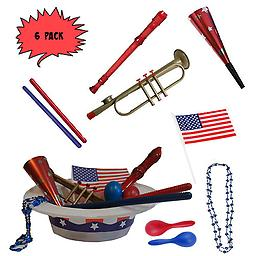4th of July Parade Pack for Kids - Music & Fun Pack J (X6) 4th Of July Parade Pack for Kids - Patriotic USA Music & Fun Pack Includes: 6 Pack of Patriotic Party Hat: Blue Beaded USA Necklace, Red Party Horn, Trumpet Kazoo, Red & Blue Rhythm Sticks, Red Record