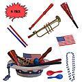 4th of July Parade Pack for Kids - Music & Fun Pack J (X6) - 4th Of July Parade Pack for Kids - Patriotic USA Music & Fun Pack Includes: 6 Pack of Patriotic Party Hat: Blue Beaded USA Necklace, Red Party Horn, Trumpet Kazoo, Red & Blue Rhythm Sticks, Red Record