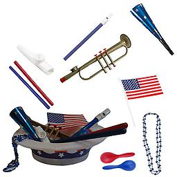 4th of July Parade Pack for Kids - Music & Fun Pack C1 4th Of July Parade Pack for Kids - Patriotic USA Music & Fun Pack Includes: Patriotic Party Hat: Blue Beaded USA Necklace, Blue Patriotic Party Horn, Trumpet Kazoo, Red & Blue Rhythm Sticks, Blue Magi
