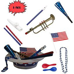 4th of July Parade Pack for Kids - Music & Fun Pack C2 (X3) 4th Of July Parade Pack for Kids - Patriotic USA Music & Fun Pack Includes: 3 Pack of Patriotic Party Hat: Blue Beaded USA Necklace, Blue Patriotic Party Horn, Trumpet Kazoo, Red & Blue Rhythm Sticks,