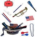 4th of July Parade Pack for Kids - Music & Fun Pack C2 (X3) - 4th Of July Parade Pack for Kids - Patriotic USA Music & Fun Pack Includes: 3 Pack of Patriotic Party Hat: Blue Beaded USA Necklace, Blue Patriotic Party Horn, Trumpet Kazoo, Red & Blue Rhythm Sticks,