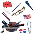 4th of July Parade Pack for Kids - Music & Fun Pack C3 (X6) - 4th Of July Parade Pack for Kids - Patriotic USA Music & Fun Pack Includes: 6 Pack of Patriotic Party Hat: Blue Beaded USA Necklace, Blue Patriotic Party Horn, Trumpet Kazoo, Red & Blue Rhythm Sticks,