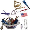 4th of July Parade Pack for Kids - Music & Fun Pack D1 - 4th Of July Parade Pack for Kids - Patriotic USA Music & Fun Pack Includes: Patriotic Party Hat: Silver Beaded USA Necklace, Blue Patriotic Party Horn, French Horn Kazoo, White Conga Shaker, Triangle,