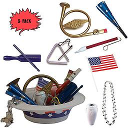 4th of July Parade Pack for Kids - Music & Fun Pack D2 (X3) 4th Of July Parade Pack for Kids - Patriotic USA Music & Fun Pack Includes: 3 Pack of Patriotic Party Hat: Silver Beaded USA Necklace, Blue Patriotic Party Horn, French Horn Kazoo, White Conga Shaker,