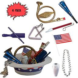 4th of July Parade Pack for Kids - Music & Fun Pack D3 (X6) 4th Of July Parade Pack for Kids - Patriotic USA Music & Fun Pack Includes: 6 Pack of Patriotic Party Hat: Silver Beaded USA Necklace, Blue Patriotic Party Horn, French Horn Kazoo, White Conga Shaker,