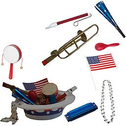 4th of July Parade Pack for Kids - Music & Fun Pack E1 4th Of July Parade Pack for Kids - Patriotic USA Music & Fun Pack Includes: Patriotic Party Hat: Silver Beaded USA Necklace, Blue Patriotic Party Horn, Trombone Kazoo, Red Slide Whistle, American Flag