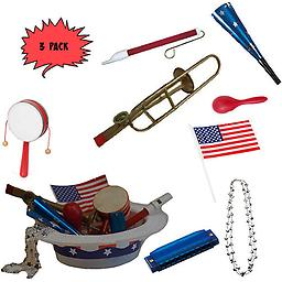 4th of July Parade Pack for Kids - Music & Fun Pack E2 (X3) 4th Of July Parade Pack for Kids - Patriotic USA Music & Fun Pack Includes: 3 Pack of Patriotic Party Hat: Silver Beaded USA Necklace, Blue Patriotic Party Horn, Trombone Kazoo, Red Slide Whistle, Ame