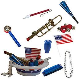 4th of July Parade Pack for Kids - Music & Fun Pack F1 4th Of July Parade Pack for Kids - Patriotic USA Music & Fun Pack Includes: Patriotic Party Hat: Silver Beaded USA Necklace, Blue Patriotic Party Horn, Trombone Kazoo, Red Slide Whistle, American Flag
