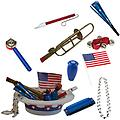 4th of July Parade Pack for Kids - Music & Fun Pack F1 - 4th Of July Parade Pack for Kids - Patriotic USA Music & Fun Pack Includes: Patriotic Party Hat: Silver Beaded USA Necklace, Blue Patriotic Party Horn, Trombone Kazoo, Red Slide Whistle, American Flag