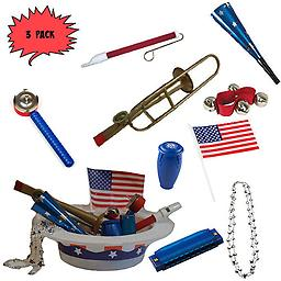 4th of July Parade Pack for Kids - Music & Fun Pack F2 (X3) 4th Of July Parade Pack for Kids - Patriotic USA Music & Fun Pack Includes: 3 Pack of Patriotic Party Hat: Silver Beaded USA Necklace, Blue Patriotic Party Horn, Trombone Kazoo, Red Slide Whistle, Ame