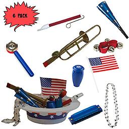 4th of July Parade Pack for Kids - Music & Fun Pack F3 (X6) 4th Of July Parade Pack for Kids - Patriotic USA Music & Fun Pack Includes: 6 Pack of Patriotic Party Hat: Silver Beaded USA Necklace, Blue Patriotic Party Horn, Trombone Kazoo, Red Slide Whistle, Ame