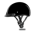 D.O.T. Daytona Skull Cap-Hi-Gloss Black - Our D.O.T. Daytona Slim Line Skull Cap 1/2 Shell Helmet In The Hi-Gloss Black Finish, Meets And Exceeds D.O.T. FMVSS 218 Standards, And Is The Smallest D.O.T. 1/2 Shell Helmet Ever Made!!