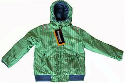 Ducksday Reversible Jacket (Lex (green print)/Sky Blue) Reversible Jacket (one side solid, coordinating print on the reverse) is winter-weight with attached hood and elastic cuffs and waist.