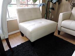 Macyu0026#039;s Modern Orso White Leather Armless Chair Macyu0026#039;s