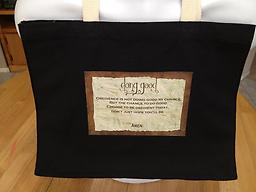 """s - 1.5Choices - """"Doing Good"""" Tote Bag """"Doing Good"""" Premium made tote bag, with reinforced straps. An all-purpose bag. Available in black, red, royal blue, navy blue and natural."""