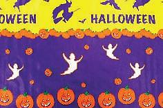 """B20-Halloween (F0218) Deluxe Flannel Back Vinyl Tablecloth. Order by the roll which is 54"""" wide x 15 yards long. The material is reusable and durable for both indoor and outdoor use."""
