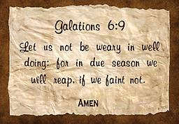 """u - 1.3Scriptures Galatians 6:9 Tote Bag Galatians 6:9 """"Let us not be weary in well...."""" Premium made tote bag, with reinforced straps. An all-purpose bag, with a """"major message."""" Available in black, red, royal blue, navy blue and natural."""
