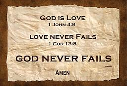 "u - 1.8Scriptures God is love T-shirt God is love 1 John 4:8 Love never fails 1 Cor 13:8 God Never Fails 100 percent cotton T-shirt. Premium made with a ""major message."""