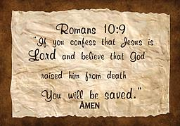 """w - .1Scriptures Romans 10:9 Tote Bag Romans 10:9 """"If you confess Jesus is Lord and believe..."""" Premium made tote bag, with reinforced straps. An all-purpose bag. Available in black, red, royal blue, navy blue and natural"""