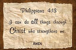 """x - 1.4Scriptures Philippians 4:13 Apron with adjustable straps/2 pockets Philippians 4:13 """"I can do all things through Christ who..."""" Custom printed, premium made aprons with adjustable straps and 2 pockets. Available in black, khaki, royal blue, red and dark green."""