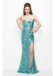 Aqua Primavera 9681 Float free in this fluid formal style by Primavera Couture 9681PC. A scrim of sparkle accents the strapless neckline, adding a shiver of glimmering dimension.