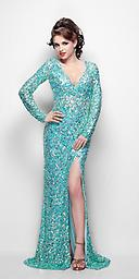 Aqua Primavera 9929 Show off your elegant taste in fashion with a ravishing sequined dress by Primavera Couture style 9929. This elegant piece features a sexy plunging neckline and thigh high front slit.