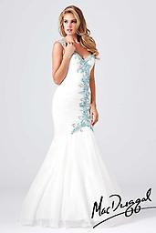 White Aqua Mac Duggal 64682 You are sure to never be forgotten in this stunning Mac Duggal 64682M dress. The one shoulder neckline features a sweetheart shape that highlights your bust.
