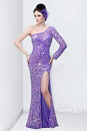Lilac Primavera 9814 You will glitter and gleam in this remarkable Primavera 9814 dress. This one shoulder evening gown features a long sleeve that will call attention to your arms.