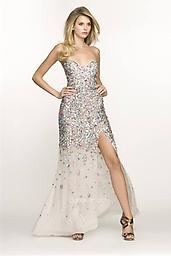 Champagne/Multi BG Haute G3207 Be the star of the night in this evening gown by BG Haute G3207. This dress is strapless with a distinct sweetheart shape. Ornate stones and sequins cover the bodice. The skirt has a soft A-line.