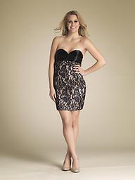 Black/Nude Dave and Johnny 7769 Scintillating and sensuous, this strapless mini dress by Dave and Johnny 7769 clothes you in exquisite style. The strapless, contoured bodice sizzles with frissons of sculpting tucks.