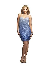 Blue Silver Ombre Dave and Johnny 8772 Set the mood for a fabulous evening out in this Dave and Johnny 8772 cocktail dress. This dress is strapless with a sweetheart neckline. Fine ombre sequins work throughout the dress.