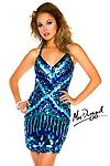 Royal/Multi Mac Duggal 3561 - Rich colors and boldly sparkling sequins jazz up the style of this form-fitting Mac Duggal 3561T mini! Slim straps stretch over the shoulders and criss-cross on the back.