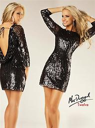 Black Sequin Mac Duggal 3485 For cocktail parties and other get togethers, this Mac Duggal 3485T mini is a natural choice! The exposed back boasts a cowl detail and slim straps that are tied in a bow.