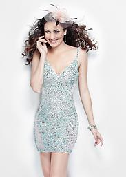 Aqua Primavera 9911 Denote your dazzling sense of fashion in this posh cocktail dress by Primavera Couture 9911. Slender straps support the deep V-neckline and a dash of décolletage details the center front.