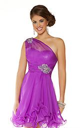 Violet Mac Duggal 81703 Flirty and chic, this one-shoulder Mac Duggal 81703N Homecoming minidress is second to none! Sheer material stretches down from one shoulder and across the sweetheart bodice.