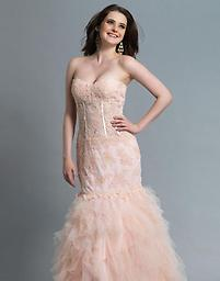 Blush Dave and Johnny 1159 Behold this expression of boldly laced innocence in this entrancing long dress from the Dave and Johnny 1159 collection. A tantalizing lace bodice framed in an angelic sweetheart neckline.
