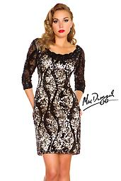 Black/ Nude Mac Duggal 76518 Feel fabulous at any event in this sophisticated cocktail dress by Mac Duggal 76518R Black White Red. The scalloped neckline bodice has sheer elbow length sleeves and features subtle sparkles.