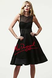 Black Mac Duggal 61770 The mod look is in and Mac Duggal style 61770r is the perfect design to show off your high fashion style. Fully covered, the bateau neckline featured a mesh material along the top and cap sleeves.