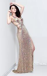 Nude Primavera 9811 Glow from within in a sparkling gown from Primavera Couture 9811. This strappy style crisscrosses with bands over your entire back. Effervescent accents glare over the length.
