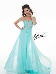 Sea Mist Mac Duggal 78761 The soft, chic style of this strapless Mac Duggal 78761M Prom gown will put a smile on your face! Subtle patterns add low-key allure to the floor-length skirt, and the exposed back lets you show skin
