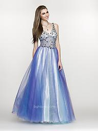 Blue/Purple SCALA BG Haute G3115 Look fabulous for your special night out in this evening gown from BG Haute G3115. This dress has jewel-encrusted straps and shimmering detail continues at the structured bodice.