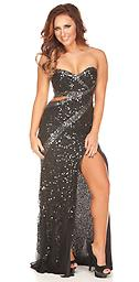 Black Primavera 9468 Breathtakingly fabulous and enticing sequined dress with side cut outs and sweetheart neckline. Sexy hi slit with slight trail and open back