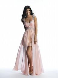 Blush Dave and Johnny 10016 This pretty, peignoir-inspired evening gown by Dave and Johnny 10016 suffuses you with scintillating style. Sheer, shoulder-capping straps shimmer with delicate embellishments, and lithe designs spark