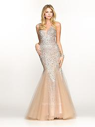Champagne BG Haute 3214 Make a statement in this BG Haute G3214 evening gown. This dress is sleeveless with a deep V-neckline. Fine stones work throughout the dress. The mermaid silhouette creates a feminine look.