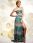 Teal/Multi Print Terani Couture JP609 - This floor-length strapless Terani JP609 gown with its multi-toned print is flattering for all women. The fabric loosely skims the body and is slit to the mid-thigh on the left side.