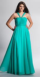 Aqua Green Dave and Johnny 8692 Be the epitome of fashion in this chic and stylish floor length gown by Dave and Johnny 8692 that features a ruched bodice with a v-shaped halter neckline straps and a ruched high waistline detailing.
