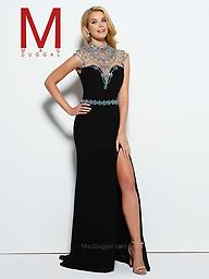 Mac Duggal 10093 in Black Spectacular details on this graceful gown make it so much more than just your standard Jersey dress. The waist and shoulder of this floor length evening gown is encrusted gorgeous, rhinestones.