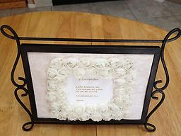 "005 - Small Framed Card (any small card can be framed) ANY Small card framed in your choice of lace or ivory rose trim. See photo gallery. MUST List Title(s) of card in ""Note to Seller"" section at checkout! Thank you."
