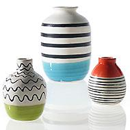 Circus Vase Set (3) With our without flowers, this charismatic vase set offers a pop of color and fun to any decor.
